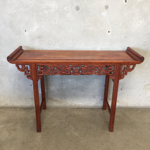 Mid Century Modern Wood Carved Altar Table