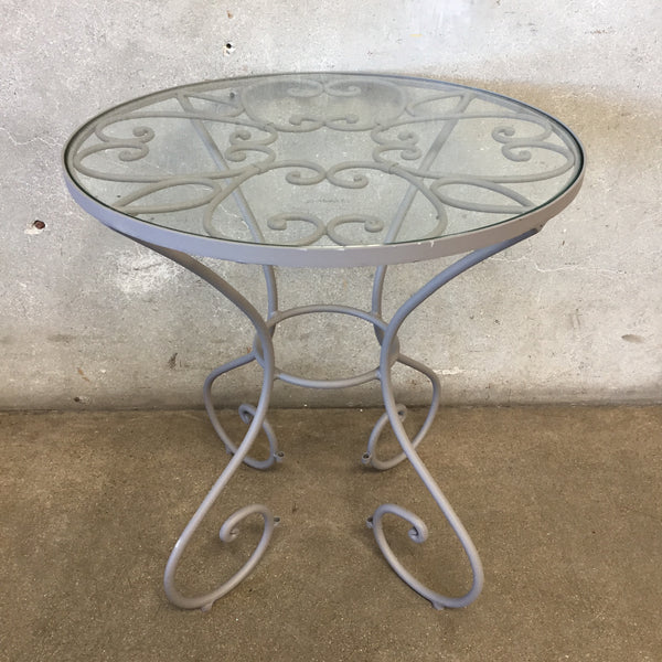 Wrought Iron Outdoor Table with Glass Top