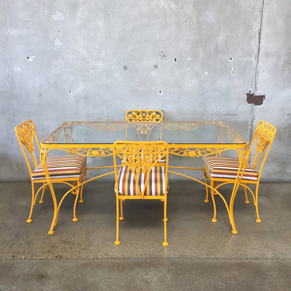 Vintage Yellow Iron Patio Set with Four Chairs