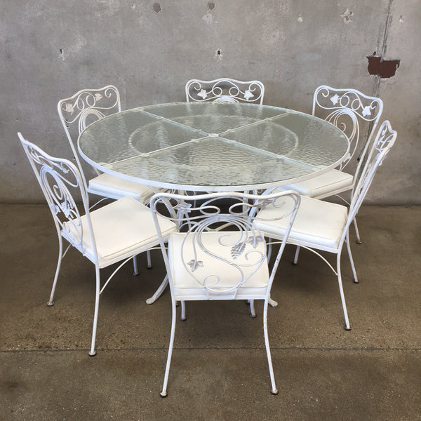 Vintage White Iron Patio Table & Chairs