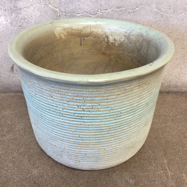 Vintage Greenish Ribbed Pot
