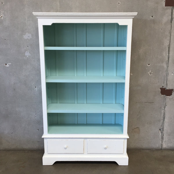 Vintage Painted Bookcase With Four Adjustable Shelves and Two Drawers