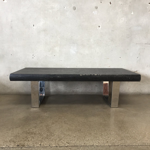 Mid Century Style Black Coffee Table With Chrome Legs