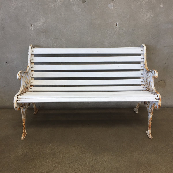 Vintage White Wood And Metal Bench