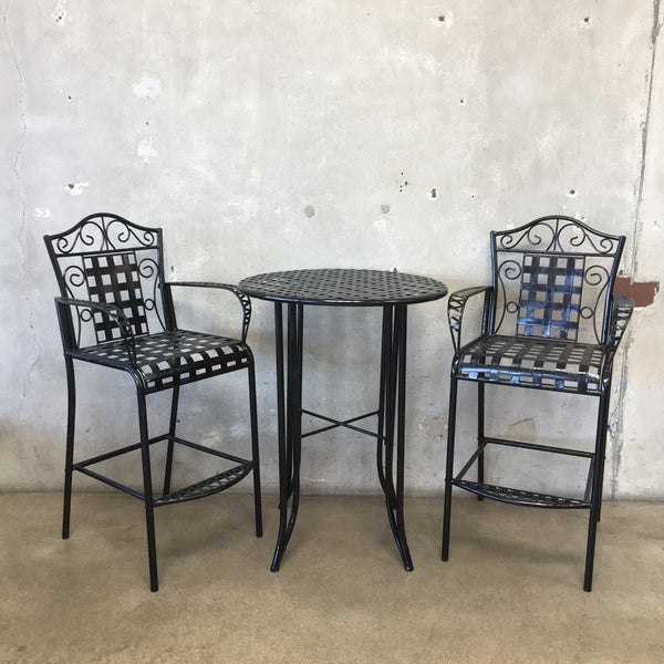 Black Metal Three Piece Patio Set