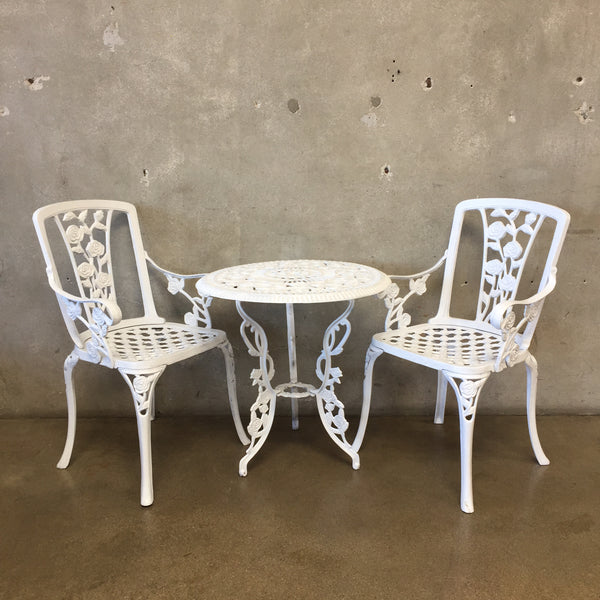 Vintage Cast Iron White Three Piece Patio Set
