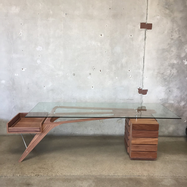 Walnut Modern Desk Designed After Carlo Mollino