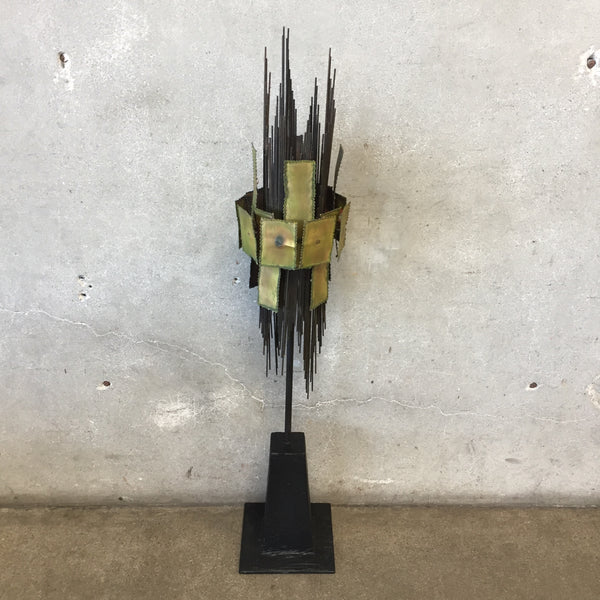 Mid Century Modern Metal And Brass Signed Sculpture