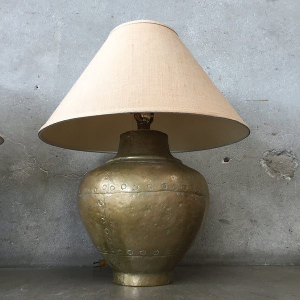 Pair of Solid Brass Forged Style Lamps