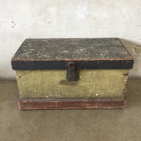 Vintage Painted Chest With Two Tray Inserts