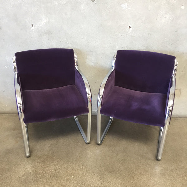 Pair Of Modern Purple Velvet and Chrome Chairs