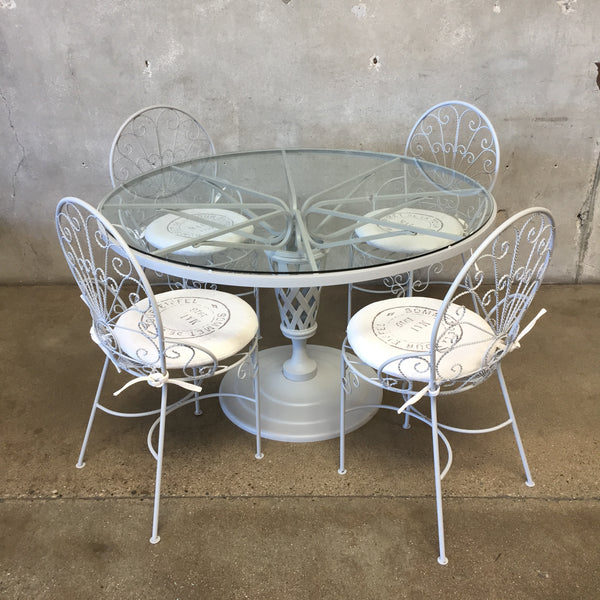 Vintage French 5 Piece Patio Set With 4 Chairs/Cushions