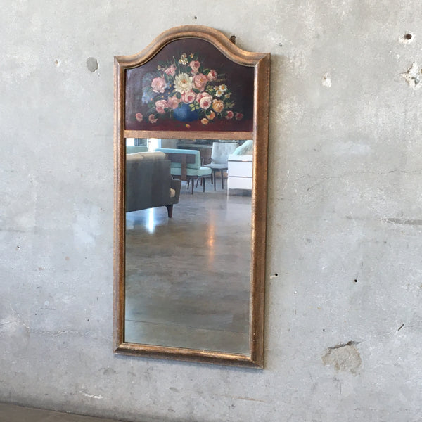 Vintage Trumeau Style Mirror with Hand Painted Leather Top Detail