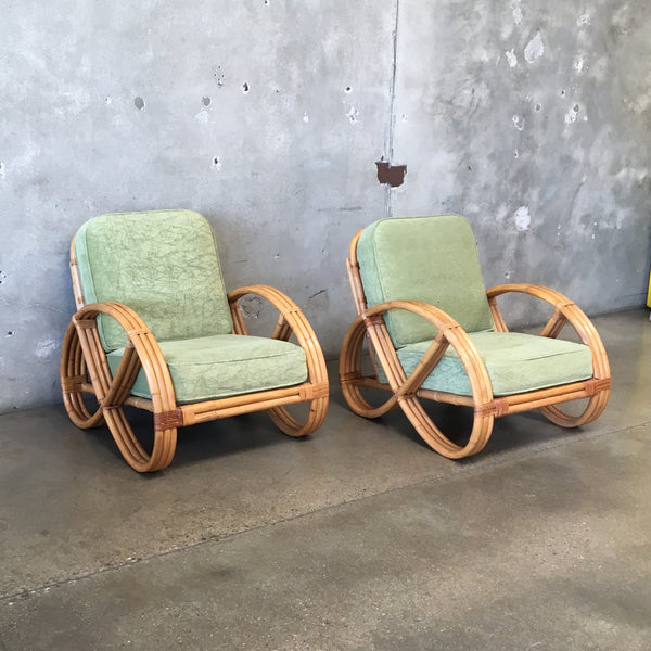 Pair of Mid Century Rattan Lounge Chairs