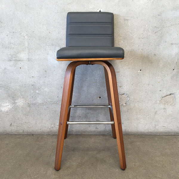 Modern Barstool with Gray Vinyl Seat