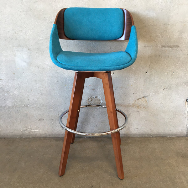 Modern Barstool with Teal Fabric Seat