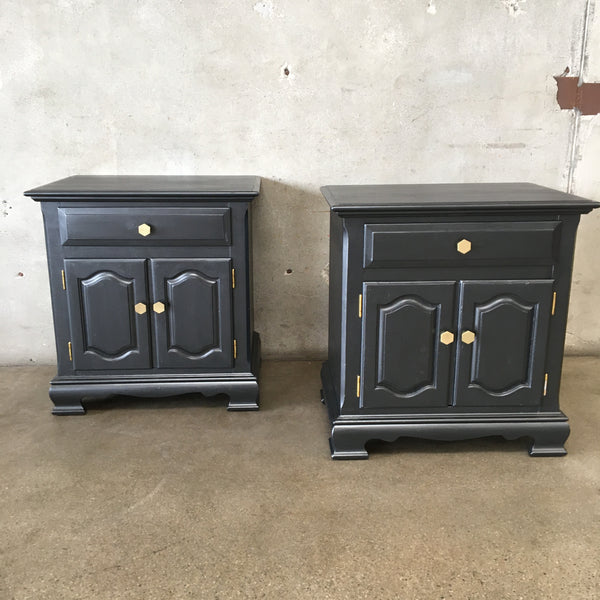 Pair of Vintage Hand Painted Metallic Gray Nightstands