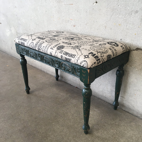 Vintage Wood Carved Bench with Upholstered Top