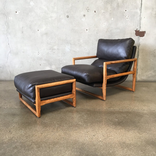 Mid Century Scoop Chair & Ottoman by Milo Baughman for Thayer Coggin