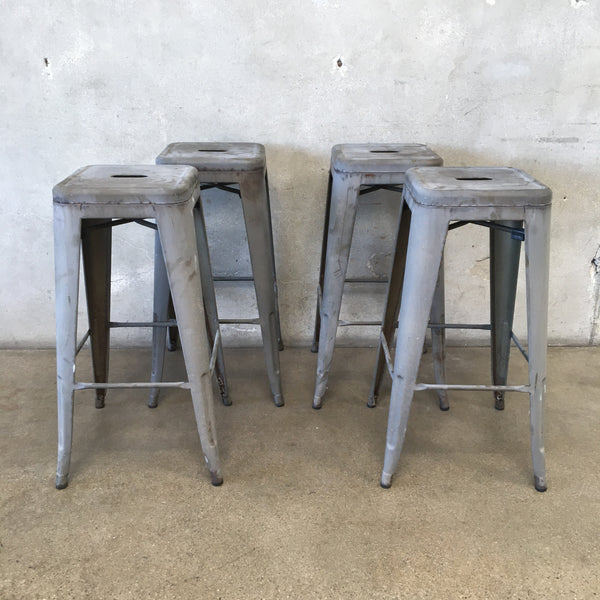 Set Of Four Industrial Metal Barstools