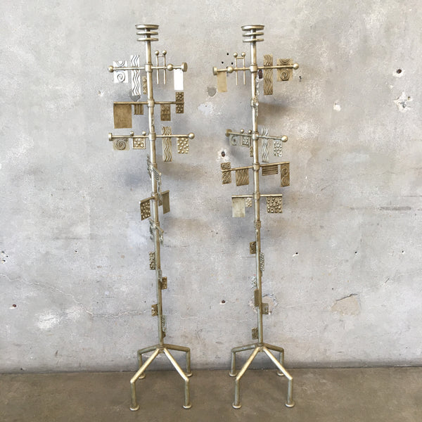 Mid Century Brutalist Metal Sculpted Candle Stands