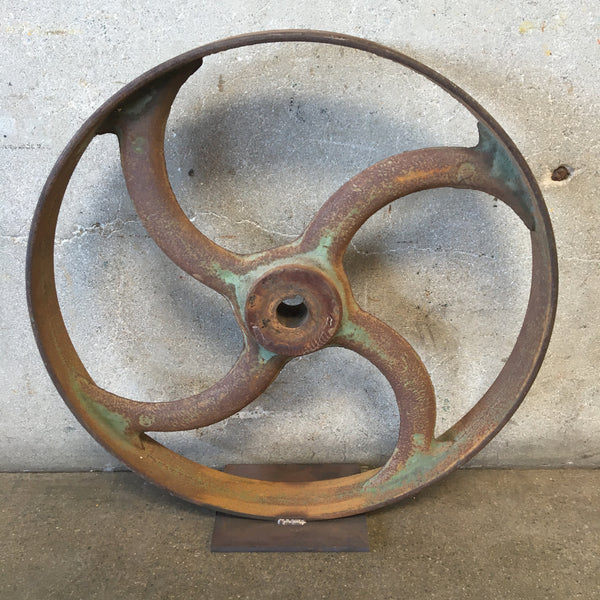 Vintage Industrial Wheel on Mount