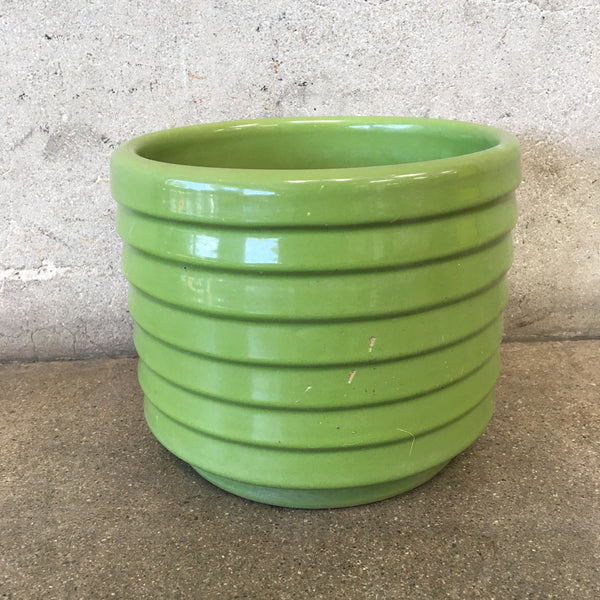 Green Mid Century Ribbed Planter