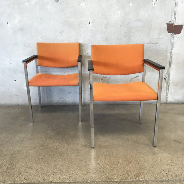 Pair of Vintage Steelcase Orange & Chrome Chairs
