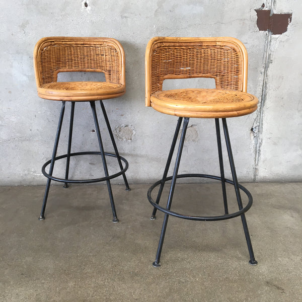 Pair of Vintage Wicker Stools