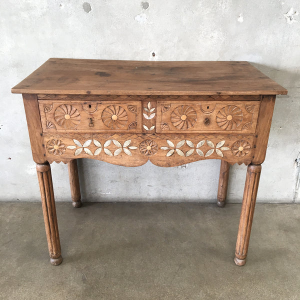 Antique Carved Mother of Pearl Inlaid Table