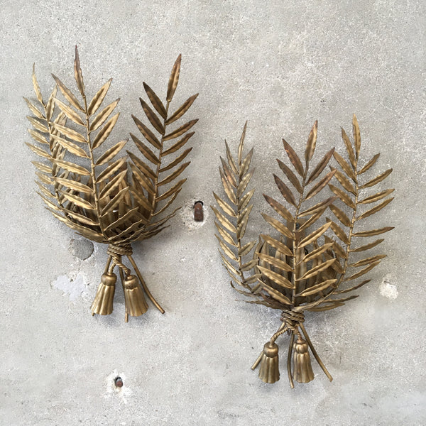 Hollywood Regency Palm Fronds Wall Sconces