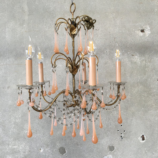 1920's French Glass Drop Chandelier