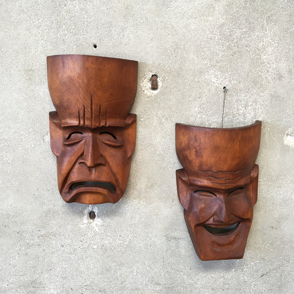 Pair of Vintage Carved Comedy & Tragedy Masks