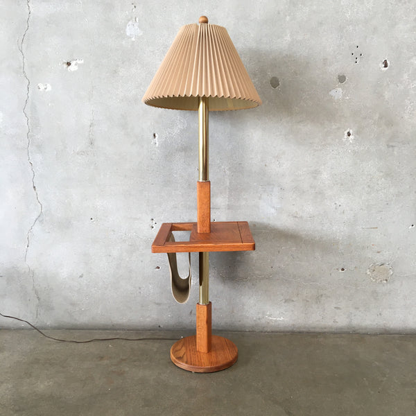 Vintage Oak & Brass Floor Lamp with Magazine Holder