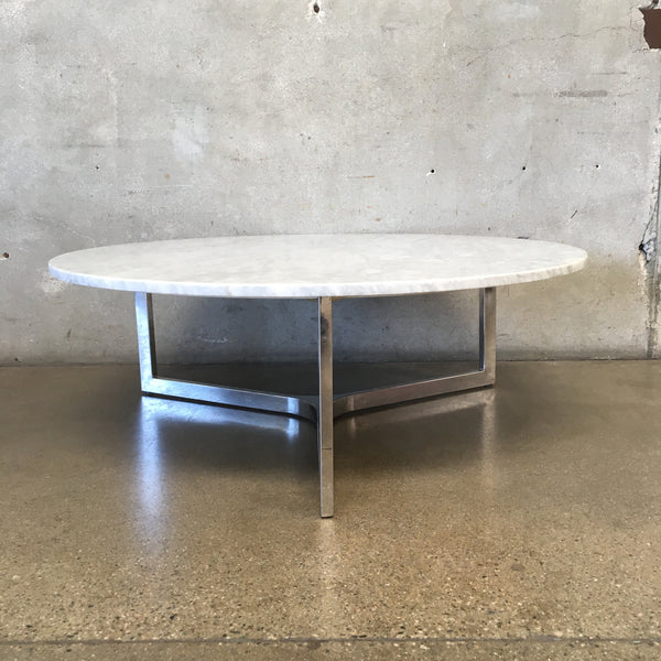Mid Century Marble & Chrome Round Coffee Table