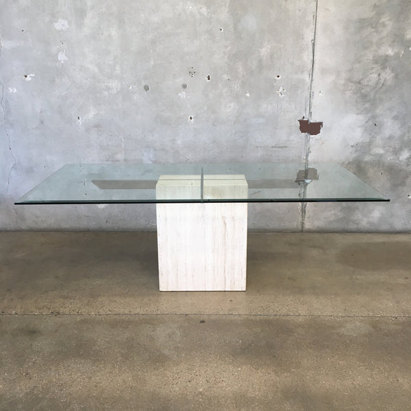 Vintage Artedi of Italy Travertine & Glass Dining Table