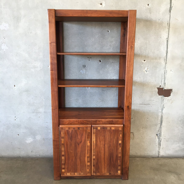Vintage Walnut Shelf Unit with Doors