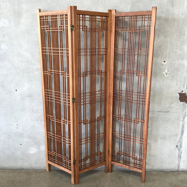 Vintage Wood Folding Screen Room Divider
