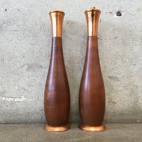 Mid Century Modern Walnut and Copper Salt and Pepper Shakers