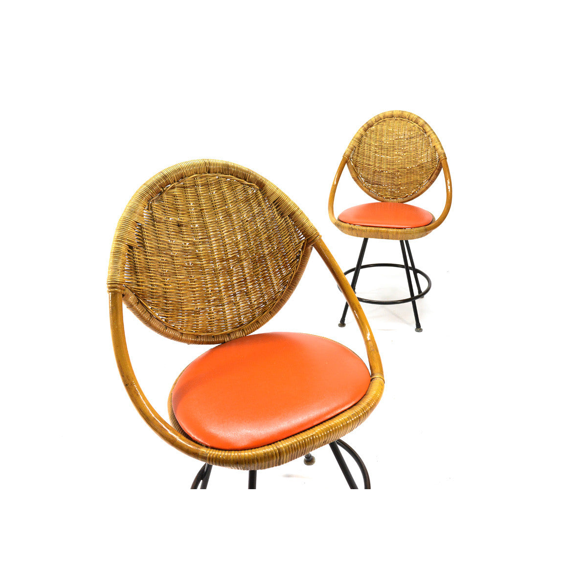 ... Pair Of Vintage Rattan Swivel Chairs ...