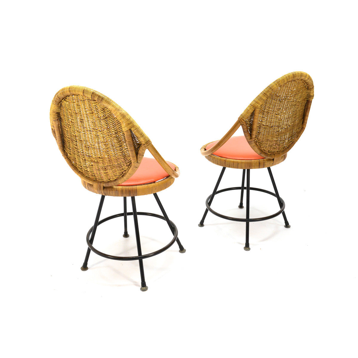 ... Pair Of Vintage Rattan Swivel Chairs