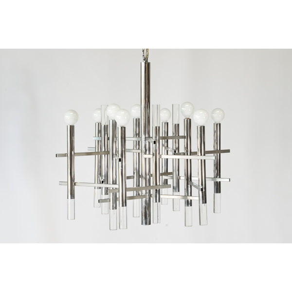 Chrome and Lucite Nine Globe Chandelier by Sciolari
