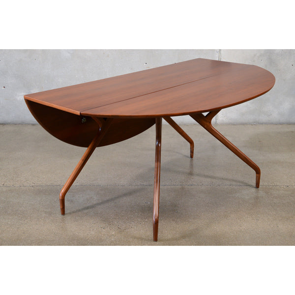Drop Leaf Walnut Dining Table by Ed Frank for Glenn of California