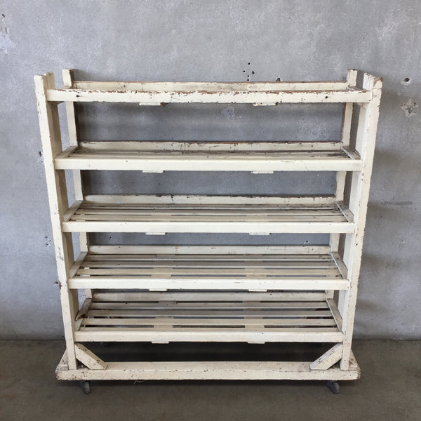 Vintage Industrial Shoe Rack with Wheels