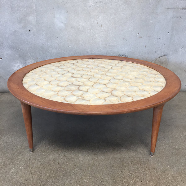 Mid Century Walnut Copa Shell Inlay Top Round Table