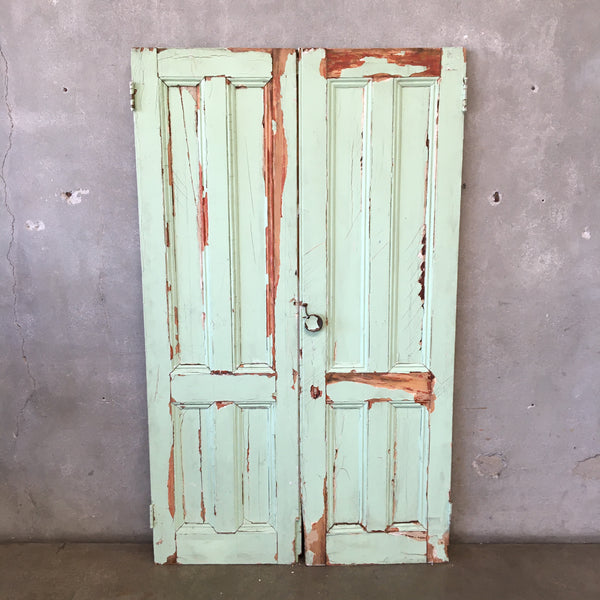 Vintage Chipped Painted Doors, Mint Green