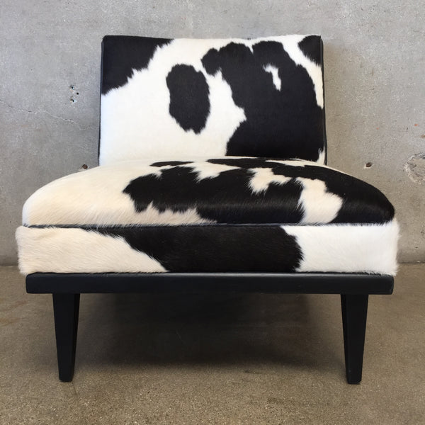 Newly Upholstered 1950's Cowhide & Neoprene Slipper Chair