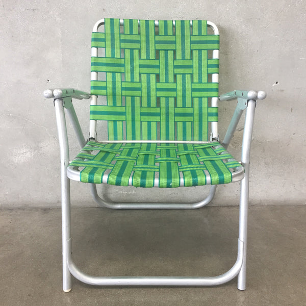 Aluminum Green Woven Folding Chair
