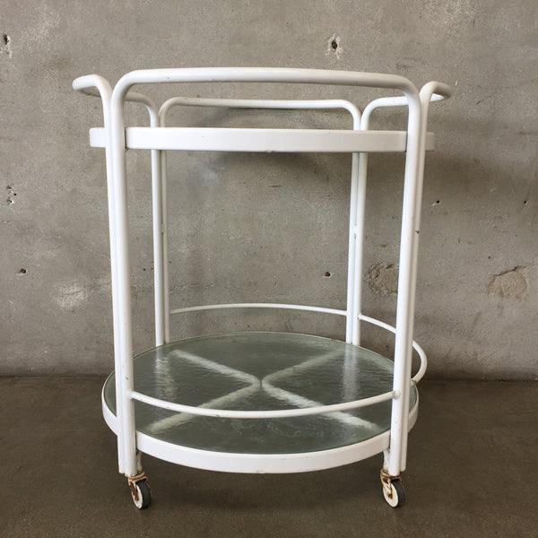 Mid Century Brown Jordan Round Bar Cart