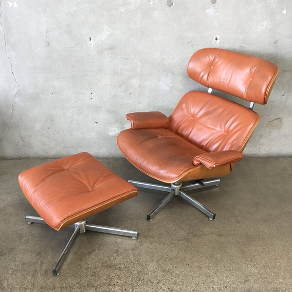 Eames Style Recliner & Ottoman